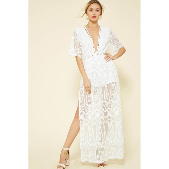 e08c2528d640 White Bardot Lace Maxi Romper Dress